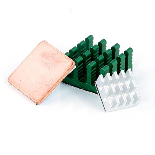 Aukru - Set 3 dissipatore di calore Alluminio e Rame heatsink per Raspberry Pi 3 Modello B / Pi 2 Modello B