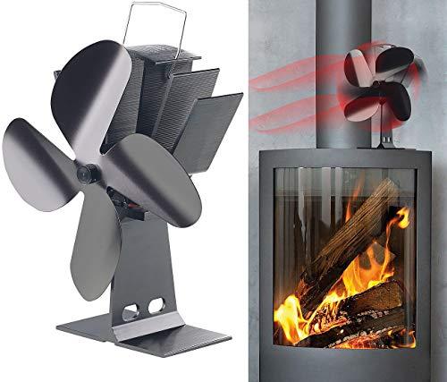 Carlo Milano Ofenventilator: Stromloser Kaminofen-Ventilator mit 4 Lüfter-Blättern, für 65-345 °C (Kamin Ventilator)