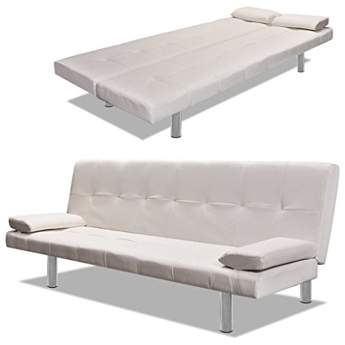 Festnight Adjustable Bed Sofa with Two Pillows Divano Letto Regolabile in Ecopelle/Similpelle/Pelle...