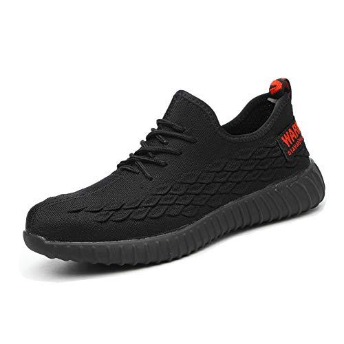 Zapatos Seguridad Hombre Mujer Punta de Acero Protección Zapatillas de Trabajo Industria y Construcción Negro 43