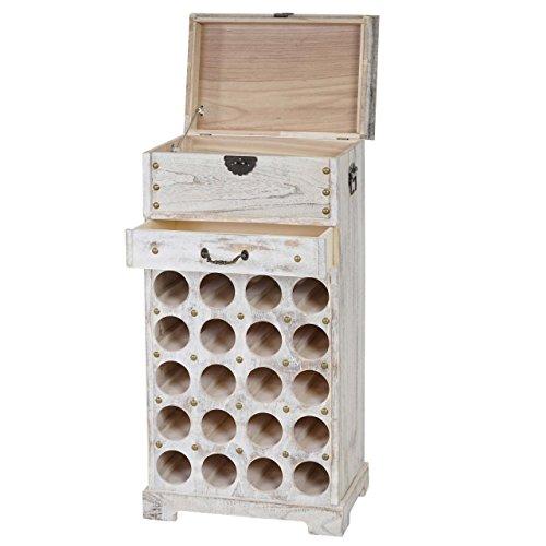 Serie Vintage portabottiglie per vini Lucan legno paulonia 31x48x94cm ~ bianco