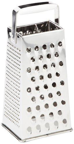 Leifheit Vierkantreibe ComfortLine mit 4 Reibflächen zum feinen/groben Reiben und Schneiden, Küchenreibe aus rostfreiem Edelstahl, Kunststoff-Einsatz am Griff der Reibe für sicheren Halt