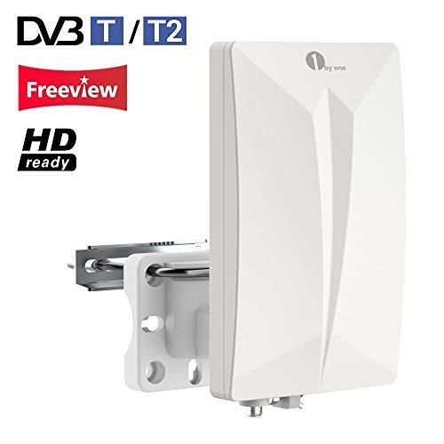 1byone DVB-T/DVB-T2 Antenne Zimmerantenne/Außenantenne für HDTV/DVB-T/DVB-T2 Fernsehen/Receiver, VHF/UHF/FM, Anti-UV-Beschichtung,Wasserdichtes und Bündiges Design