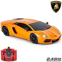 CMJ RC Cars Lamborghini Aventador - Mando a Distancia Oficial para niños con Luces de Trabajo, Radio controlado en Carretera, Modelo 1:24, 27 MHz Naranja, Juguetes para niños y niñas