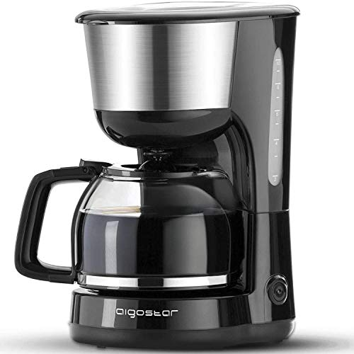 Aigostar Chocolate 30HIK–Máquina de café, 1000W cafetera de filtro, con filtro reutilizable y función de mantener caliente. Sistema antigoteo. 1,25 litros y libre de BPA. Diseño exclusivo.