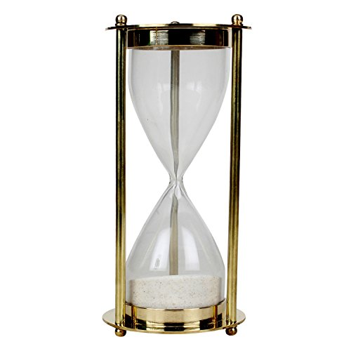 Kartique Antique Style Golden Hour Glass Brass Sand Timer Hourglass Ideal for Exercise Tea Making Clock Nautical Décor Theme 3 Minutes