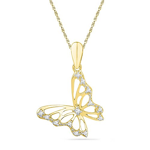 10kt oro amarillo para mujer redondo diamante mariposa bug colgante 1/12quilates (I2-I3claridad; g-H color)