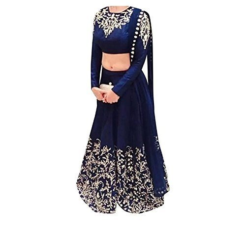 Florence Women's Raw Silk Semi-Stitched Lehenga Choli (Blue_Free Size)