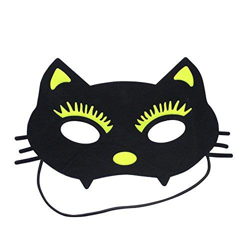 Maschera,Bambini maschere trucco ballo di fine anno festa simpatici animaletti di feste COS maschere volto di gatto verde Masquerade