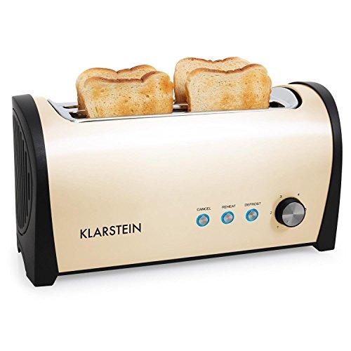 Klarstein Cambridge - Toaster, Doppel-Langschlitz-Toaster, 4-Scheiben-Toaster, Edelstahl, Brötchenaufsatz, 6-stufig einstellbarer Bräunungsgrad, 1400 Watt, creme