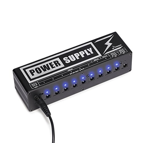 Donner DP-2 Guitar Pedal Power Supply 10 Isolated DC Output for 9V/12V/18V Effect Pedals