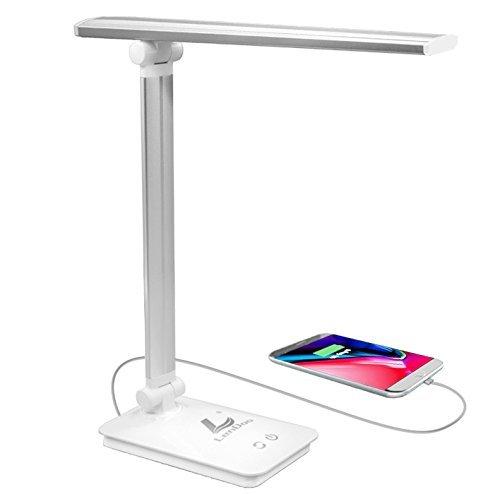 LED Schreibtischlampe Dimmbar,Berührungsempfindlich blendfrei,3 Helligkeitsstufen 5 Farbmodi Leselampe mit USB-Ladeanschluss,Wiederaufladbare Energiesparlampe zum Aufladen von Smartphones,weiß