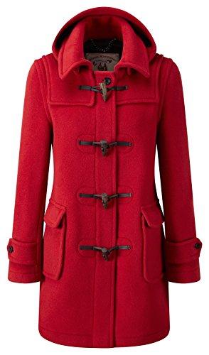 Original Montgomery Trench londinese con cappuccio per donna 46 UE (dimensioni produttore 18) Regno Unito 42 Rosso