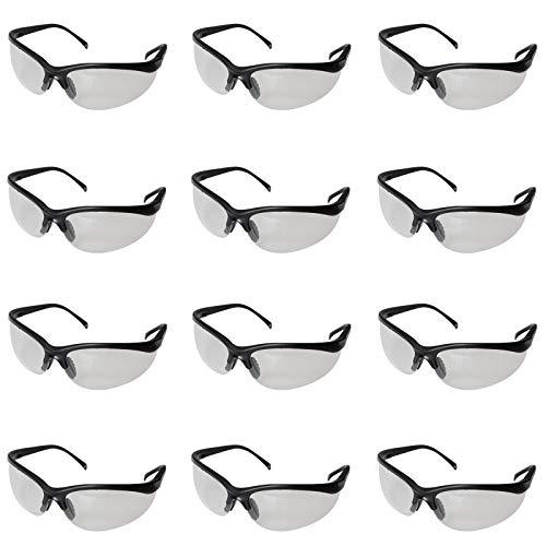 Gafas de Seguridad Negras , Gafas Proteccion - Trozo 12 Gafas Protectoras Ojos con Lentes Plástico Transparente y Plaquetas Nasales y Fundas de Patillas de Goma para un Ajuste Cómodo - Laboratorio Química, Construcciones y Más