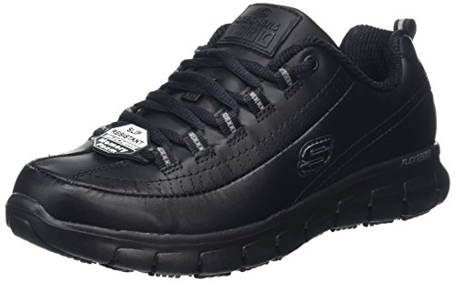 Skechers Damen Sure TRACK-TRICKEL-76550EC Sicherheitsschuhe, Schwarz (Black Leather Blk), 39 EU