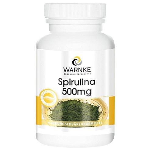 Spirulina 500 mg, polvere di alghe spirulina, ricca di clorofilla, 100 compresse, polvere pura senza additivi, vegi, confezione da 1 (1 x 31 g)