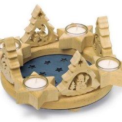 floristikvergleich.de Small Foot by Legler Adventskranz Sterne, Weihnachtsdeko aus Holz mit vier abnehmbaren Tannen für eine individuelle und abwechslungsreiche Weihnahchtsdeko