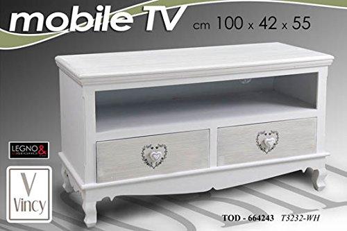 Gicos MOBILE PORTA TV TELEVISIONE 2 CASSETTI CUORE 100X42X55 CM 664243