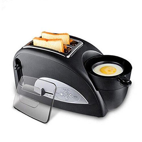 Kitzen Toast und Ei Zwei Scheiben Toaster und Eiermacher, geröstete Croissants Omelette Frühstück Vollautomatische Temperatur 1200 W Für Haus - Schwarz Luxus Lebensstil