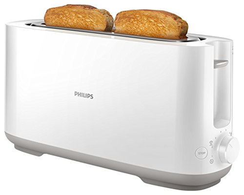 Philips HD2590/00Tostapane Daily Bianco, 1fessura Extra Lunga, Pulsante Riscaldo