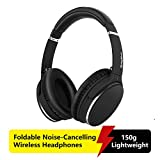 Wireless Active Noise-Cancelling Stereo Headphones Foldable,Srhythm NC25 Lightweight Headset Over-Ear with Hi-Fi,Built-In Mic,40mm HD Driver,Protein Leather Earpads - Low Latency (Matte Black)