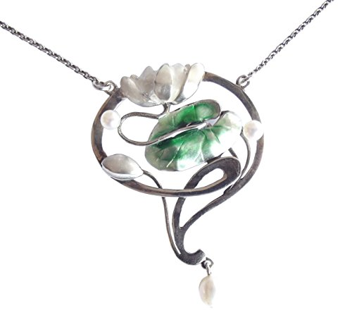 Collier Ninfea per donna in argento 925 Smalto Perle Art Nouveau