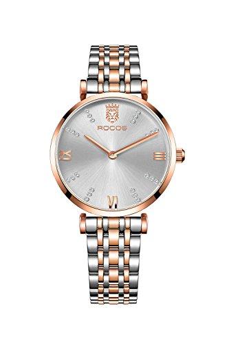 ROCOS Orologio da Donna con Cinturino in Acciaio inossidabile - Quartz Watch (Cinturino in Acciaio inossidabile)
