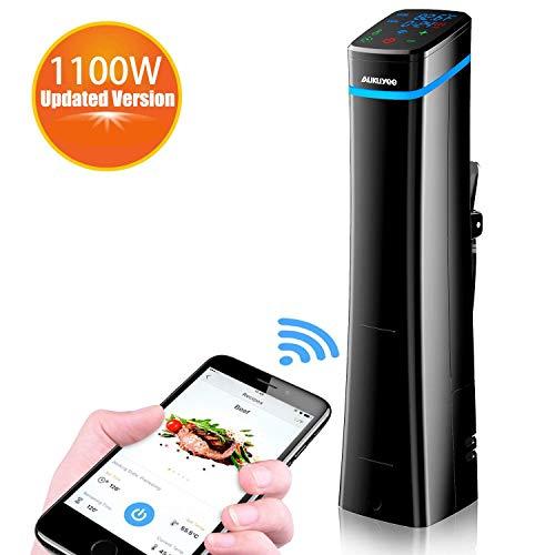 AUKUYEE Sous Vide 1100W Funzione Wi-Fi Fornello di precisione Slow Cooker Circolatore di Immersione Controllo Preciso della Temperatura e del Tempo Display LCD Digitale(Nero)