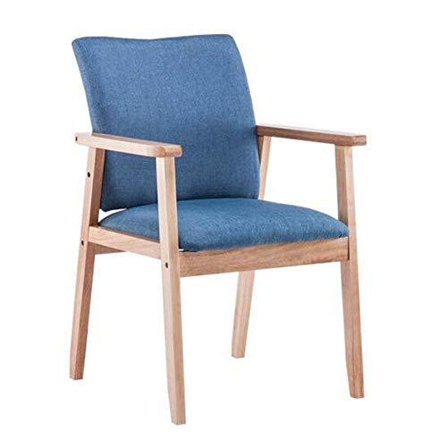 Sedie Poltrone Tessuto di Lino Sedile Imbottito con Gambe in Legno di Gomma Sala Casa Sedia da Soggiorno Pranzo ZX Casa Poltrone (Color : Blue, Size : Wooden Color Frame)
