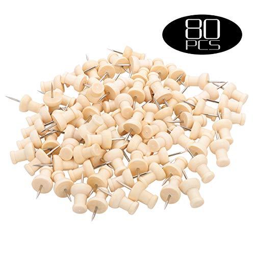 80 puntine in legno per pollice, decorazione per lavagne in sughero, foto, calendario, Home Office,...