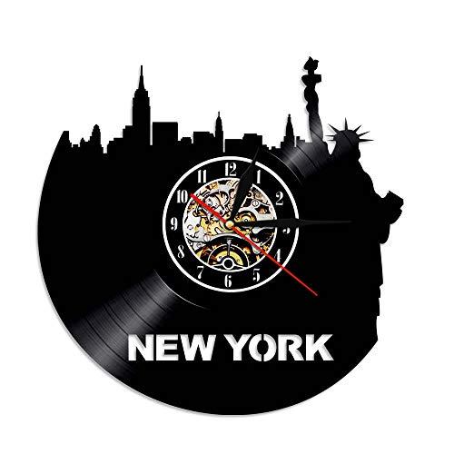 A/N 1 Pezzo New York Skyline Orologio da Parete in Vinile LP Record Time Clock NY City Sightseeing Orologio da Parete Vintage con Illuminazione a LED