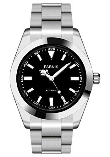 PARNIS 2141 Automatik-Herrenuhr Saphirglas Edelstahl Ø40mm 5BAR MIYOTA Markenuhrwerk Edelstahl-Armband