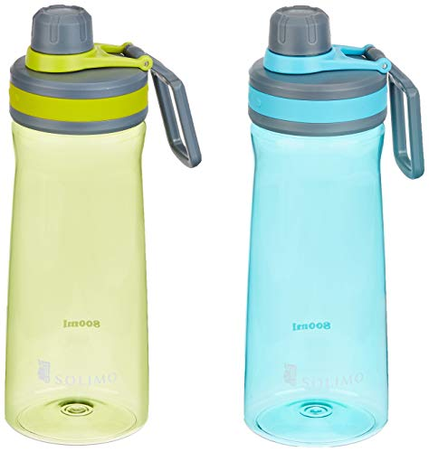 Amazon Brand - Solimo Sports Water Bottles, 800 ml, Set of 2 (Blue, Green)
