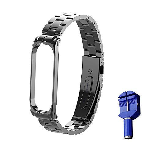Wanfei per Xiaomi Bracciale Mi Band 4 Strap, per Xiaomi Mi Band 4 / Mi Band 3 Cinturino da Polso sostitutivo, Metal Strap Wristband di Ricambio Strap Extendable Bracelet per Xiaomi Mi Band 4 3