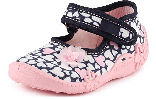 Ladeheid Pantofole a Strappo Bambina LAVI0001 (Blu Navy/Cuori Bianca, 21)