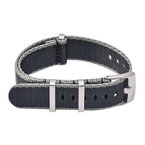 Vinband Cinturini Orologi Alta qualità Nylon Orologi Bracciale - 20mm, 22mm Cinturino Orologio Addensare Anello in Acciaio Inossidabile (20mm, Black*Gray)
