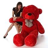 Toyhub Soft 3 Feet Teddy Bear With Neck Bow (91 Cm,Red)