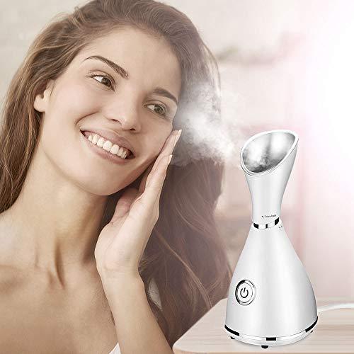 iKALULA Gesichtssauna Gesichtsdampfer, Professionelle Nano Ionic Gesicht Dampfgerät Luftbefeuchter Dampfer für Face Befeuchter Hautpflege Gesichtspflege Porenreinigung Gerät - Weiß