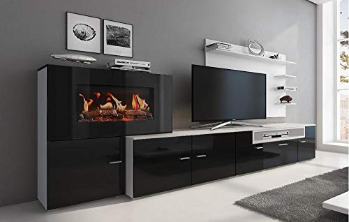 Home Innovation - Living room furniture with electric fireplace with 5 levels of flame, finish matt white and black gloss lacquered, measures: 290 x 170 x 45 cm deep