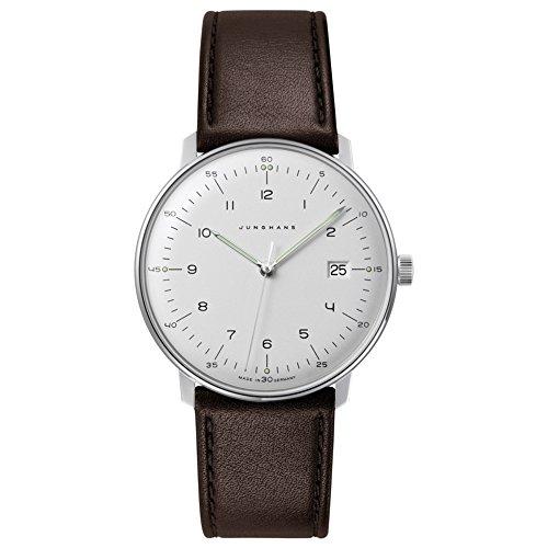 Junghans Max Bill orologio da uomo al quarzo in acciaio inox e pelle, colore: marrone (modello: 041/4461.00)