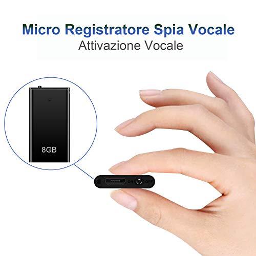Mini Spia Registratore Vocale HY con Attivazione Vocale, Memoria da 8GB, Ricaricabile USB e funzioni...