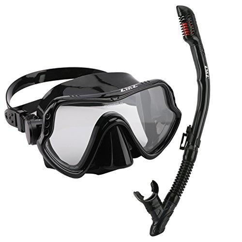 ZMZ Dive, Set di maschere da snorkeling, in silicone, vetro temperato e fibbie regolabili, set di maschere da snorkeling per adulti, ., Nero