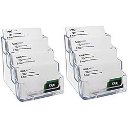 2 soportes transparentes para tarjetas de visita de 4 niveles, acrílico, expositor de tarjetas, soporte de escritorio