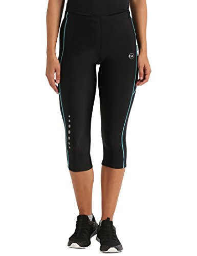 Ultrasport, Pantalones deportivos 3/4 para Mujer, Negro/Turquesa, L