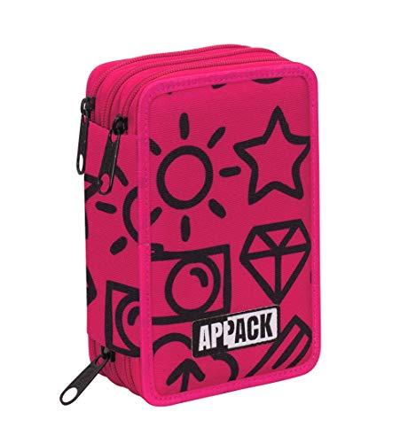 Astuccio 3 Zip Appack, Micro Macro, Rosa, Con materiale scolastico: 18 pennarelli e 18 pastelli...