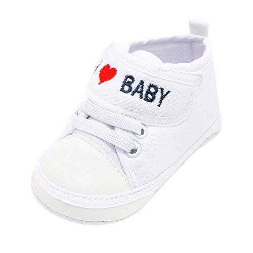 Jimmackey Neonato Unisex Lettera Cuore Ricamo Scarpe Morbide Suola Camminatore Sneaker Anti-Scivolo Calzature (Bianco, 9-12 Mesi)
