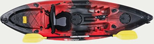 KAYAK DE PESCA 295x78x35 cm ROJO-NEGRO | Canoa equipada con asiento, 2 tambuchos, remo de aluminio, 2 cañeros fijos y 1 cañero direccional 360º