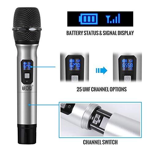 """TONOR Microphone sans Fil 25 Canaux UHF, avec Mini Récepteur Portable Sortie 1/4"""", pour Réunion d'Affaire/Maison/Karaoké/Église, Argent 8"""