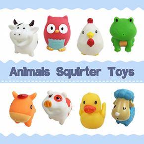 CZC GIFT Juguetes de Baño, Juguetes de Plástico Blandos Animales Squirter, Conjunto de 8pcs de Juguetes Flotantes en Agua