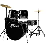 Tiger Full Size 5 Piece Drum Kit - Black